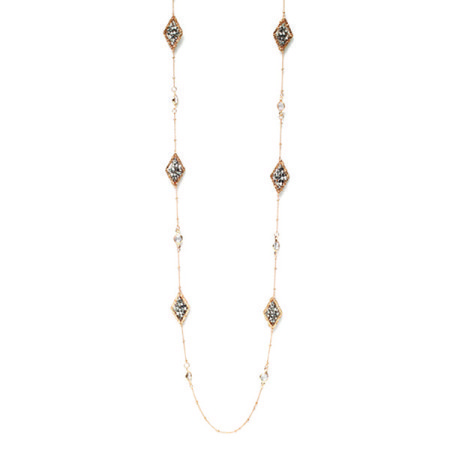 Long Gold Necklace w/ Silver Woven Diamond