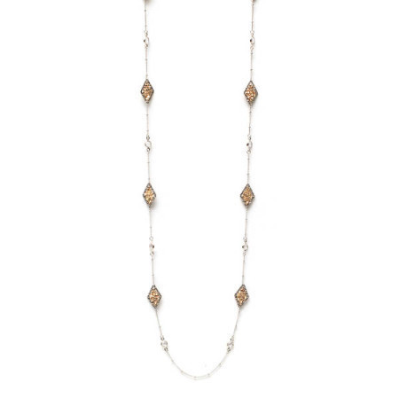 Long Silver Necklace w/ Gold Woven Diamond