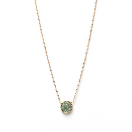 Small Circle Aqua Charm Gold Necklace