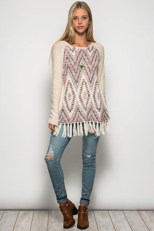 Amelia sweater with fringe