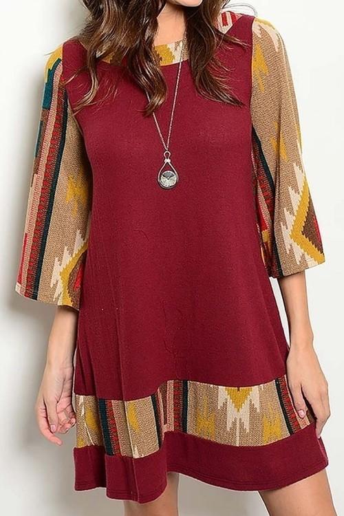Autumn Aztec dress