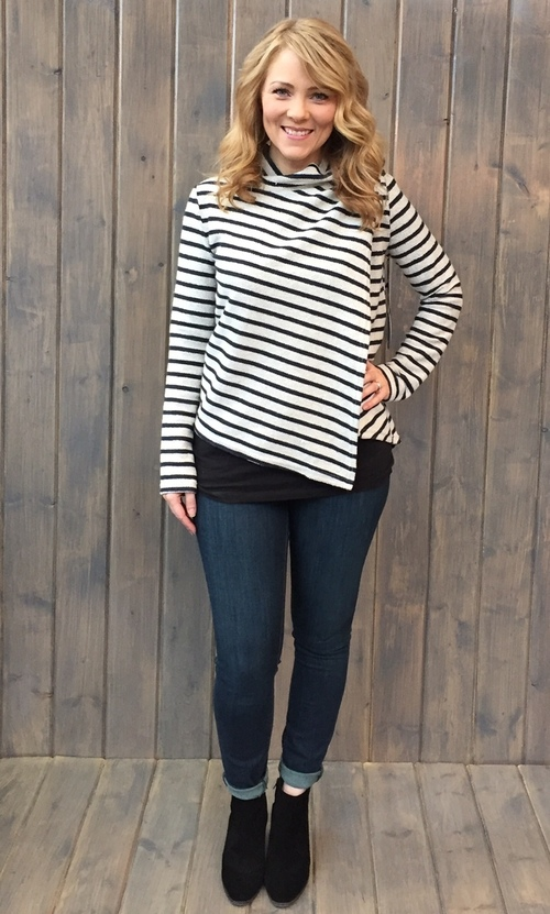 Asymmetrical Zip Stripe Cardigan