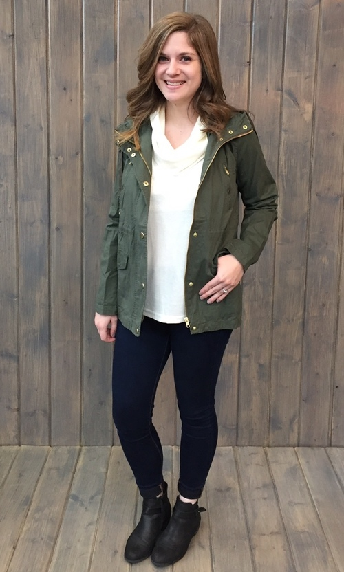 Snap Closure Olive Hooded Jacket