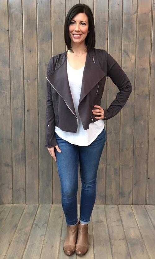 Carmen Zip Front Faux Suede Jacket