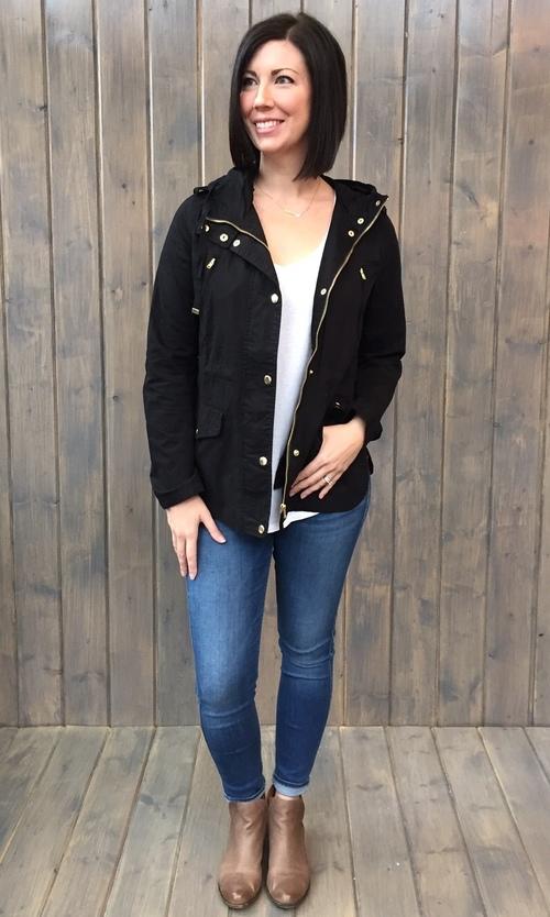 Snap Closure Black Hooded Jacket