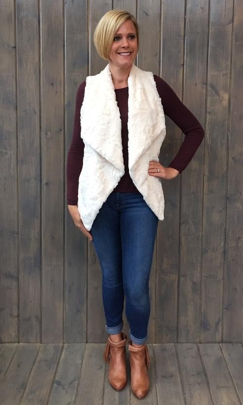 Cordova Swirly Textured Ivory Vest