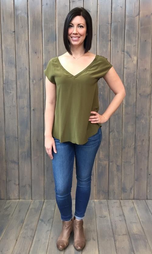 Double V Flounce Cap Sleeve Silk Top