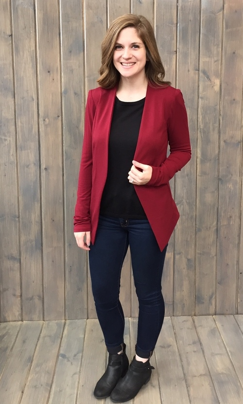 Crepe Knit Tuxedo Blazer Wine Red