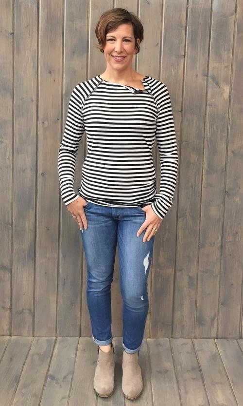 Striped Zipper Black White Top