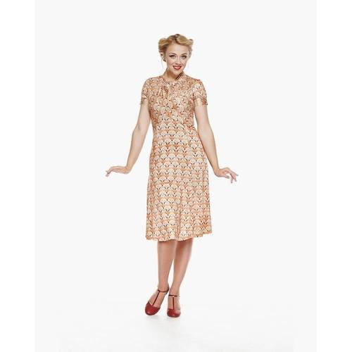 Lindy Bop Amie Cross Stitched Fox Print Tea Dress