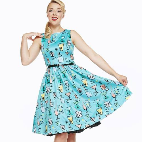 Lindy Bop Audrey Turquoise Cocktail Glass Print Swing Dress