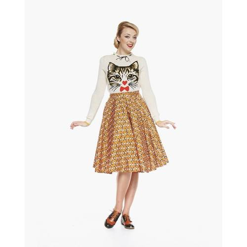 Lindy Bop Peggy Egyptian Cat Print Full Circle Skirt