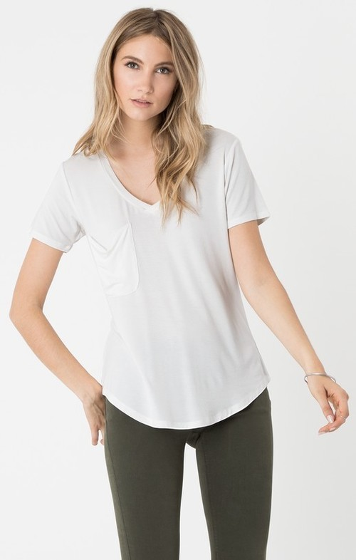 White Sleek Jersey Pocket Tee