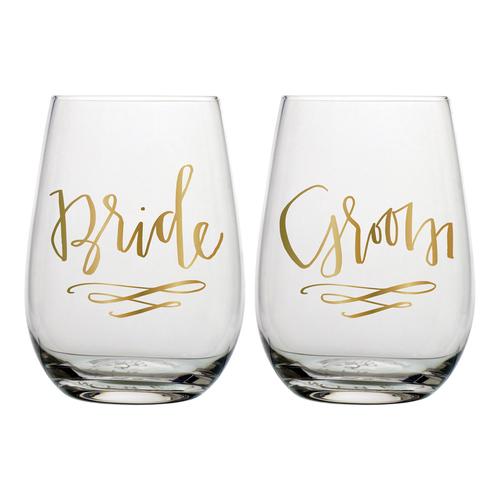 Bride & Groom Stemless Wine Glass Set
