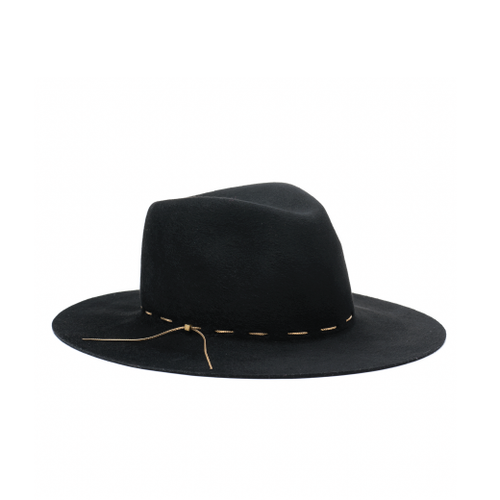 Georgina Brushed Wool Felt Wide Brim Fedora with Hand Woven Gold Chain