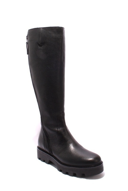 Black / Leather / Knee-High / Zip-Up Round-Toe Boots
