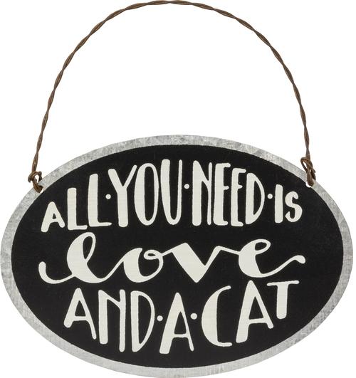 Love Cat Tin Ornament