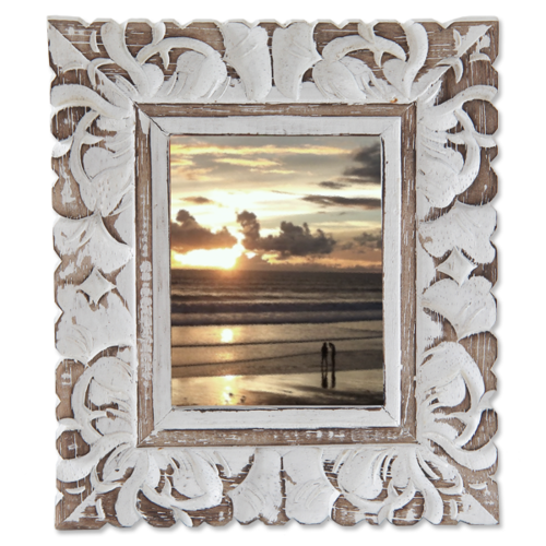 White Wash Carved Frame- Small