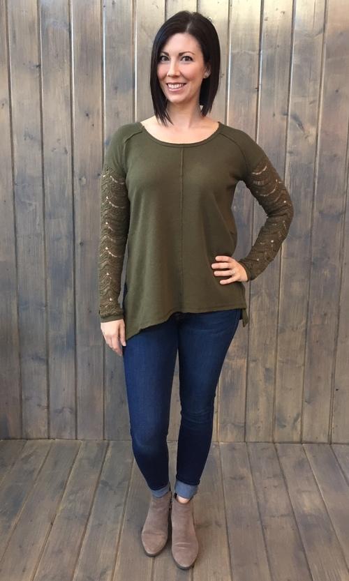 Kiana Olive Night Lace Sleeve Top