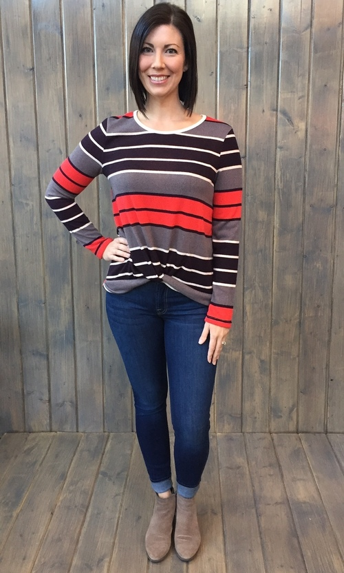 Crimson Striped Pullover