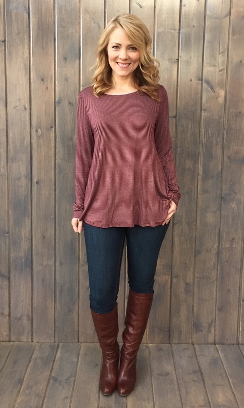 Elbow Patch Burgundy Top