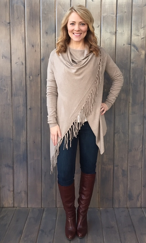 Asymmetrical Fringe Cardigan Heather Taupe