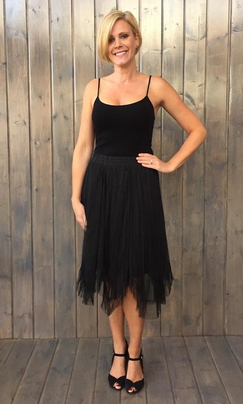 Hankerchief Hem Black Tulle Skirt