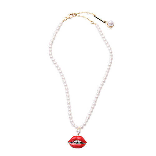 Pearls and Lips Necklace