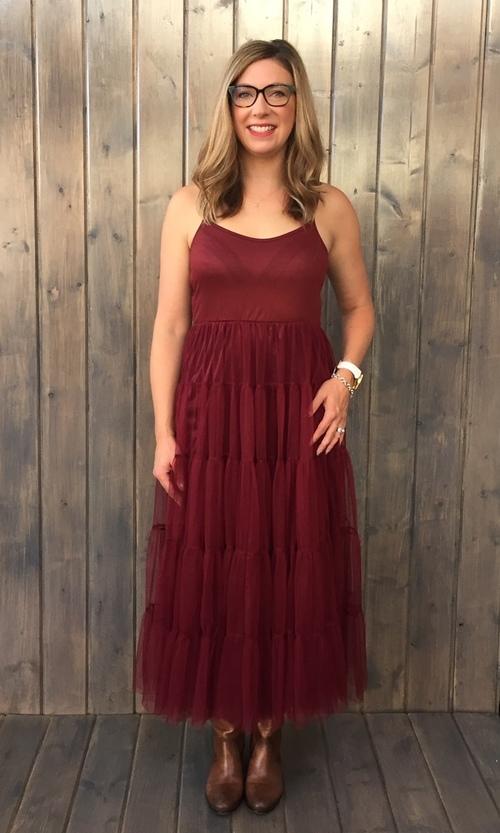 Wine Tulle Skirt Long Dress