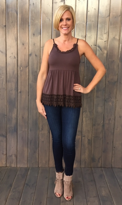 Lace Trimmed Chocolate Cami