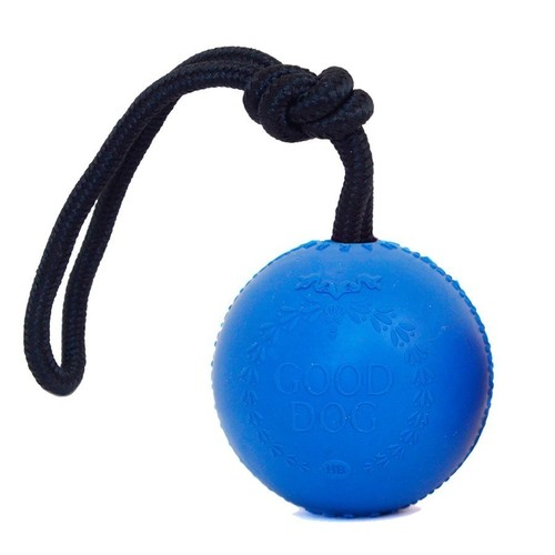 Rubber Ball w/ Rope- Blue