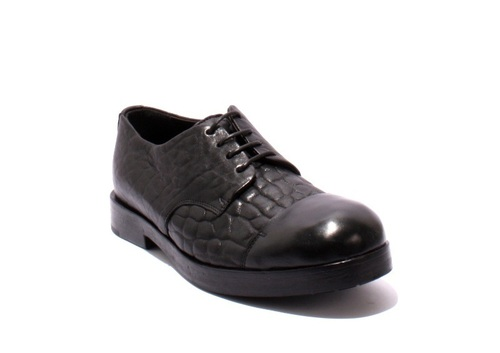 Black Pebbled Leather / Leather Lace-Up Shoes