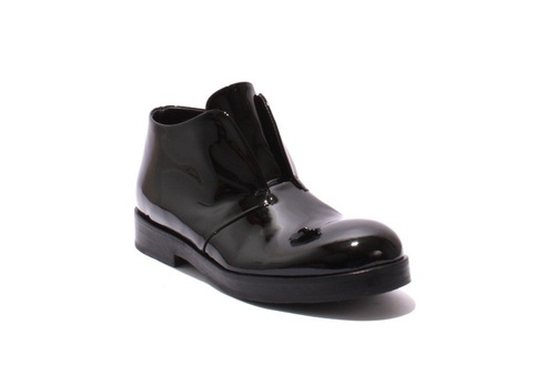 Black Patent Leather Trendy Ankle Shoes Boots