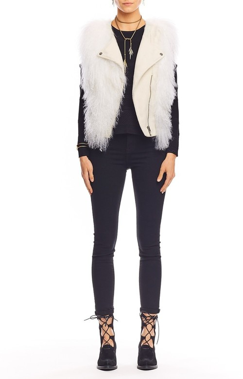Leather and Fur Moto Vest