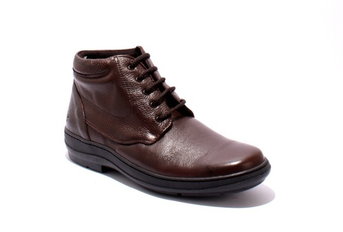 Brown Leather Lace-Up Wide Comfort Men Shoe Boot