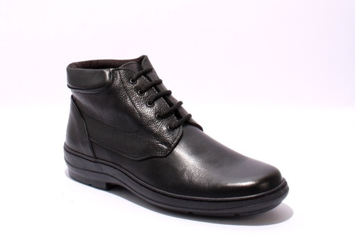 Black Leather Lace-Up Wide Comfort Men Shoe Boot