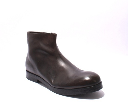 Dark Brown Leather Trendy Zip-Up Ankle Boots