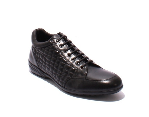 Black Stitched Quilted Leather Lace-Up Zip-Up Shoes