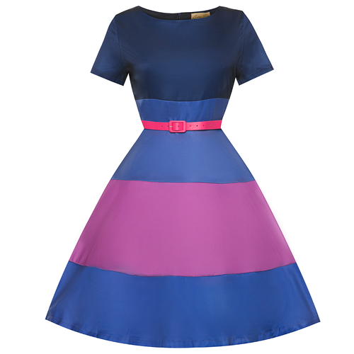 Lindy Bop 'Fleur' Heather Stripes Colour Block Swing Dress