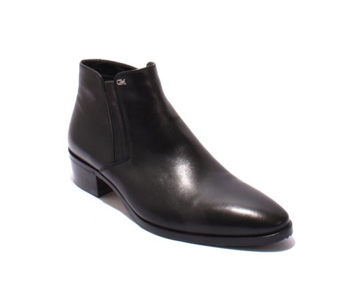 Black Leather Natural Fleece Zip-Up Classic Ankle Boots