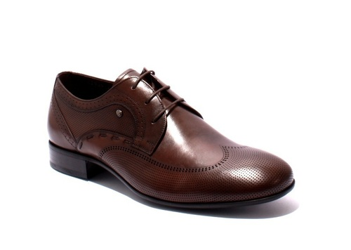 Brown Leather Lace-Up Classic Shoes