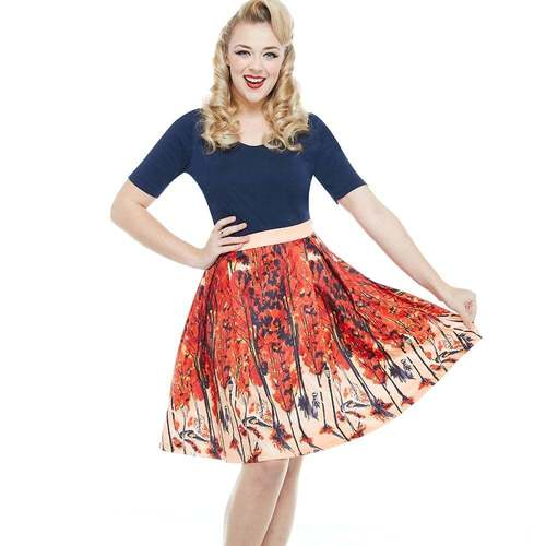 Lindy Bop 'Marie' Woodland Foxes Print Skirt