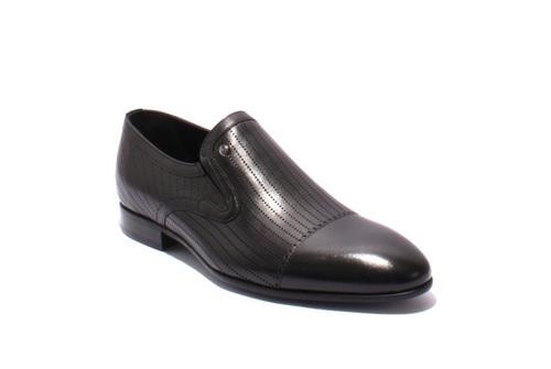 Black Laser Cut Leather Classic Shoes