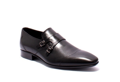 Black Leather Classic Buckle Shoe