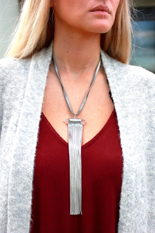 Long Crystal Fringe Necklace