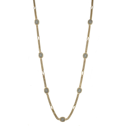 EMPIRE HAMMERED FRAME & CHAIN -COIN-3BD PAVE DISC FIGARO CHAIN