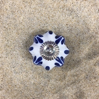 Blue & White Star Silver Knob