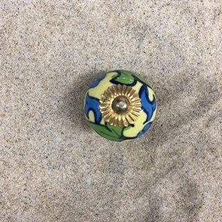 Yellow Blue Green Flower Ball Knob