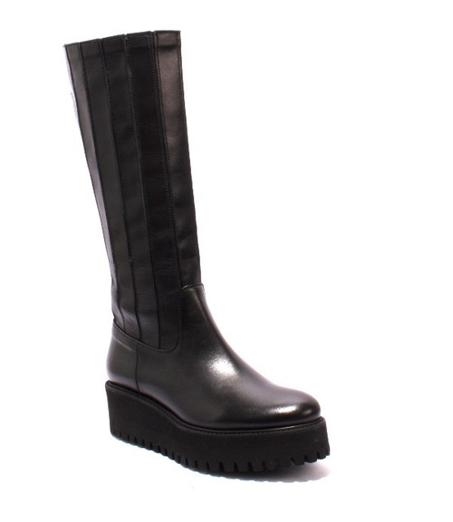 Black Leather Stretch Over Mid-Calf Boots