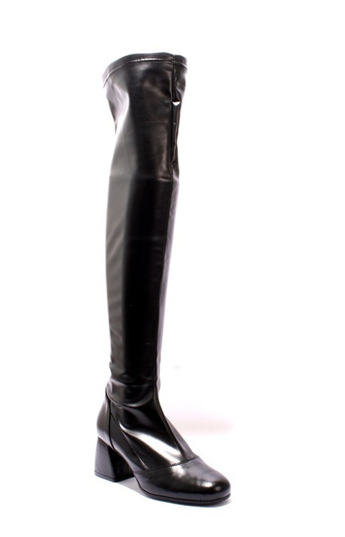 Black Stretch Over-the-Knee Heel Boots